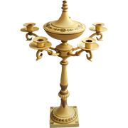 Vintage Midcentury Tole Painted Cast Metal Candelabra Yellow