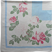 Vintage Tablecloth Roses Pink Blue Print Kitchen Printed Cotton Square
