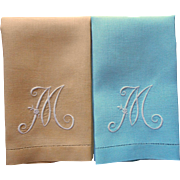 Monogram M Vintage Pair Guest Towels 1940s Aqua Golden Yellow