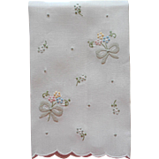 Madeira Guest Towel Appliqued Hand Embroidered Linen Bows Flowers