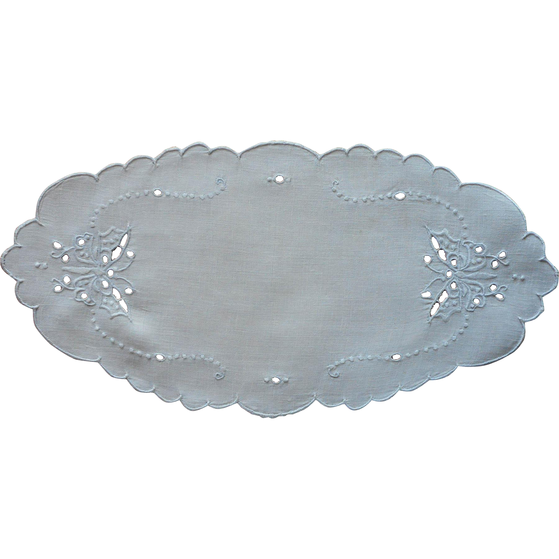 1920s Bread Tray Doily Linen Cutwork Vintage Butteflies Hand Embroidery