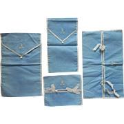 Monogram A Antique Pouches Cases Hankies Stockings Hairbrush Etc Blue Cotton