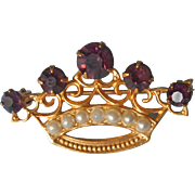 Vintage Pin Crown Purple Glass Stones Faux Seed Pearls Victorian Revival