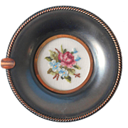 Vintage Ashtray Trinket Dish Petit Point Glass Blackened Copper
