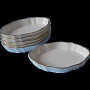 Wedgwood Bone China Vintage 6 Individual Dishes White Gold Butter Sweetmeats