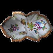 Vintage Herend Queen Vicotria Trinket Dish Butterflies Peonies