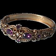 Vintage Bracelet Victorian Revival Faux Amethyst Faux Pearl Avon Queensbury