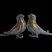 Bird Shakers Vintage Silver Plated Figural Green Glass Eyes Salt Pepper