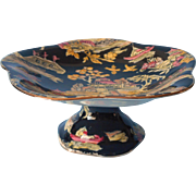 Royal Winton Chintz Black China Pedestal Bonbon Fruit Dish Tazza