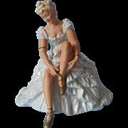 1930s Ballerina Figurine China Wallendorf 1308 0 Vintage Germany Blonde Blue Ruffles