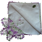 Vintage Hankie Irish Linen Crocheted Lace Butterfly Purple Original Label
