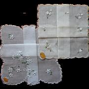 Vintage Swiss Hankies Unused Original Labels Embroidery Hankie