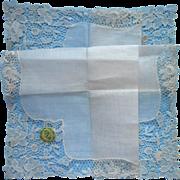 Vintage Hankie Wedding Appropriate Unused Lace Linen Desco Label