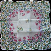 Vintage Hankie Unused Print Cotton Daisies Printed