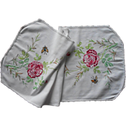 Vintage Runner Roses Colored Hand Embroidery Cotton
