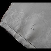 Monogram L Antique Linen Damask Hand Towel TLC