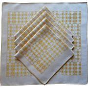 1910s Napkins Antique Linen Golden Yellow Checkered Weave European