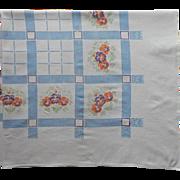 Vintage Tablecloth Printed Heavy Cotton Kitchen Pansies Print Blue Orange Purple