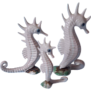Seahorse Figurines Bone China Miniature Midcentury Hand Painted Set 3