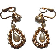 Vintage Earrings Faux Pearl Dangle Clip