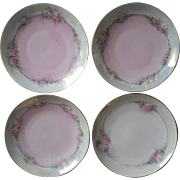 1920s Hand Painted China Bread Dessert Plates Pink Roses Set 4