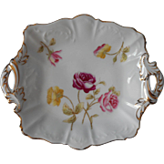 Antique Roses Hand Painted China Square Dish Gold Auburn Geneva NY
