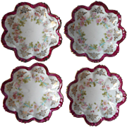 Antique China Nut Dishes Butter Pats Wine Magenta Rims Pink Flowers Turquoise Ribbons