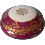 French Limoges Vintage China Trinket Box Magenta Wine Gold White