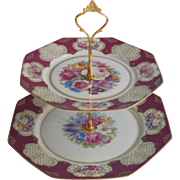 Bavarian China 2 Tier Serving Tray Tidbit Tea Table Floral Burgundy Gold