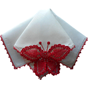 Vintage Hankie Butterfly Crocheted Red Lace White Linen
