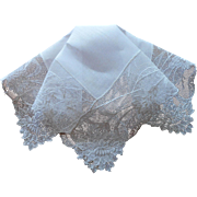 Vintage Hankie Embroidered Net Lace Linen