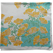 Vintage Tablecloth Kitchen Print California Poppies Aqua Yellow White Green