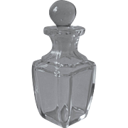 Antique Perfume Bottle Simple Well Cut Glass Handsome Beveled Squared