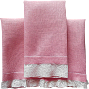 Vintage Guest Towels 3 Deep Pink With Alencon Lace Trim 1940s