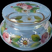 Antique Enameled Glass Vanity Jar Trinket Box Pink Roses Daisies Gold