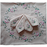 Tablecloth Napkins Set Vintage Hand Embroidered Roses Square Mauve Pink Green