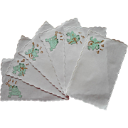 Vintage Cocktail Napkins Madeira Frogs Playing Music Hand Embroidered