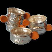 Bakelite Handles Vintage Silver Plated Punch Cups Set 6
