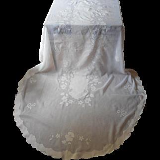 Oval Set Vintage Madeira Tablecloth 120 x 67 10 Napkins Organdy Linen Appliqued Hand Embroidered