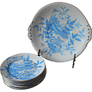 Antique French Cake Serving Set Aesthetic Blue Transferware China Swallows Birds Plates
