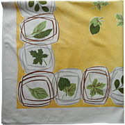 Vintage 1950s Tablecloth Printed Yellow Green Leaves MCM Kitchen Square