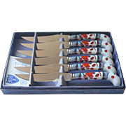 Vintage Steak Knives Prill Porcelain Handles Mandarin Imari Set 6