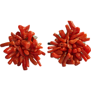 Vintage 1930s Branch Coral Earrings Cluster Screwback