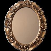 Italian Mirror Wood Gesso Gilt Vintage Italy Midcentury 11.5 x 9.25 Inches