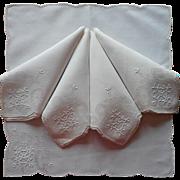 Vintage Napkins Linen Hand Embroidery Drawn Thread Work 5