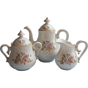 Antique French China Tea Set Small Scale ca 1880 Tea Pot Creamer Sugar Bowl