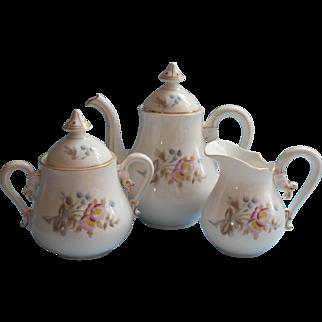 Antique French China Tea Set Small Scale ca 1880 Tea Pot Creamer Sugar Bowl