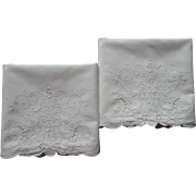 Madeira Pillowcases Vintage 1940s Hand Embroidery Unused All White