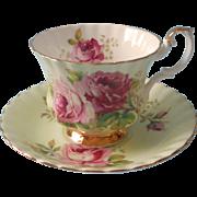 Roya Albert Pink Roses Green Cup Saucer Vintage English Bone China