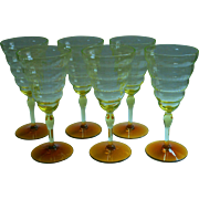 1920s Water Goblets Wine Glasses Vintage Cambodia Vaseline Amber Utlility Glass Works
